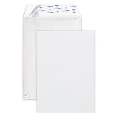 Witte akte-envelop met zelfklevende of gegomde sluiting