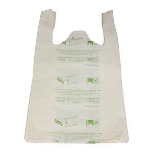 Witte biologisch afbreekbare schouder zak