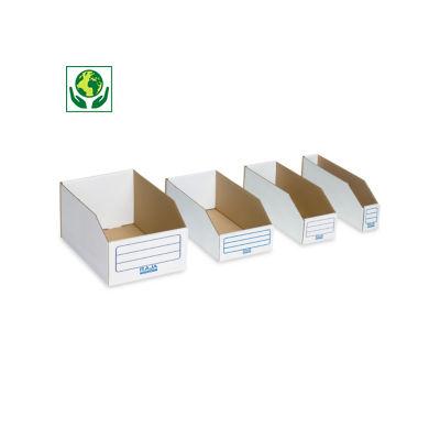 Bac à bec en carton blanc##Witte kartonnen magazijnbak