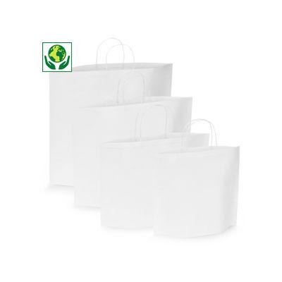 Witte papieren draagtas met ovale bodem en gevlochten oren