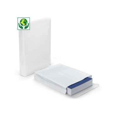 Pochette kraft armé blanche avec fermeture adhésive à soufflets##Witte versterkte envelop met zelfklevende sluiting en zijvouw