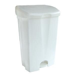 Witte vuilnisbak met pedaal 50 L