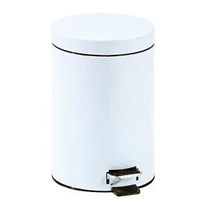 Witte vuilnisbak met pedaal 5 L