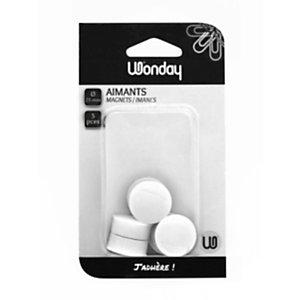 Wonday Aimant rond pour tableau magnétique - Diamètre 25 mm - Blanc
