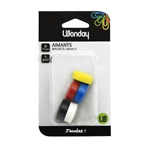 Wonday Aimant rond pour tableau magnétique - Diamètre 25 mm - Coloris assortis