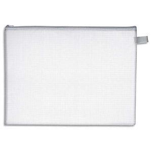 WONDAY Pochette zippée PVC renforcé semi-transparente pour le courrier, format 34,5x26cm, épaisseur 0,5cm