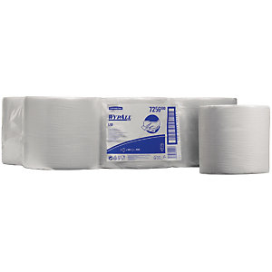 Wypall* L10 Rollo de toallitas de papel de limpieza, 1 capa, 800 hojas, rollo con salida central, 195 mm, blanco