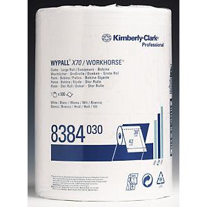 Wypall* X70 Salviette di pulizia di carta, 1 velo, 500 fogli, Rotolo perforato, 420 mm, Bianco