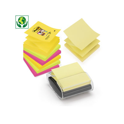 Post-it en Z Super Sticky et dévidoir##Z-gevouwen Post-it memoblokjes met houder