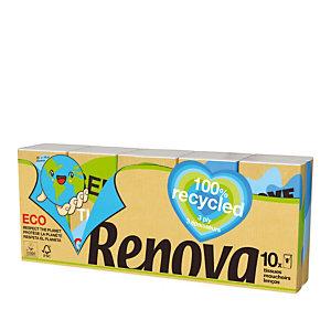 Zakdoeken Renova 100% gerecycleerd, set van 10 etuis van 9 zakdoeken