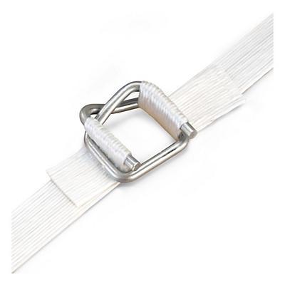 Zelfblokkerende metalen klemmen voor omsnoeringsband in textiel