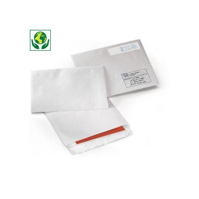 Pochette blanche en kraft armé à fermeture adhésive##Zelfklevende witte versterkte envelop
