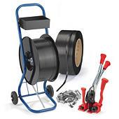 Zestaw 2 rolki taśmy spinającej polipropylenowej + 1 wózek + 1 paskowacz + 2500/3000 szt. zapinek drucianych