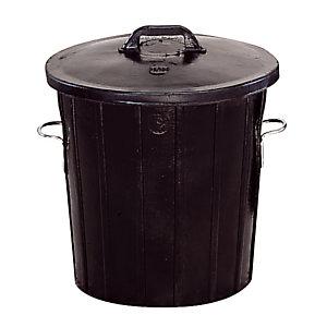 Zwarte rubberen vuilnisbak 75 L
